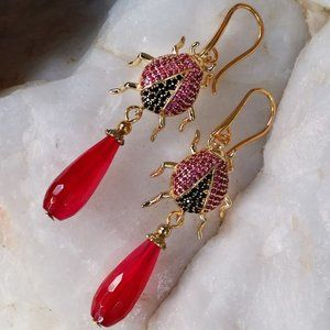 Gold-plated Earrings Agate Stone Lady Bug Animal